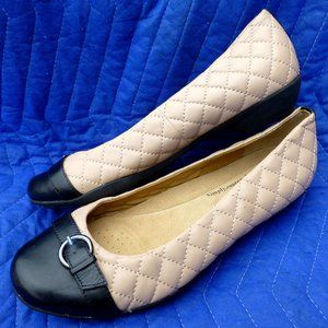 Softspots Quilted Two Tone Leather Flats